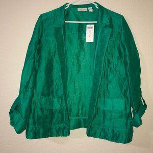 NWT CHICO'S Galinda Vivid Green Linen-Blend Blazer
